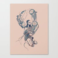 jellyfish Canvas Prints featuring Jellyfish by Huebucket
