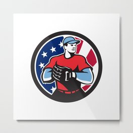 American Baseball Pitcher USA Flag Icon Metal Print