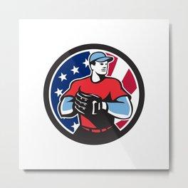 American Baseball Pitcher USA Flag Icon Metal Print