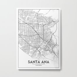 Minimal City Maps - Map Of Santa Ana, California, United States Metal Print