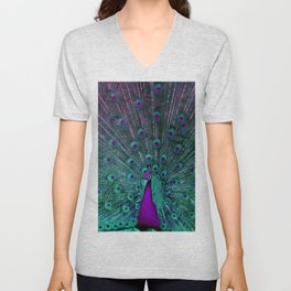 BLOOMING PEACOCK Unisex V-Neck