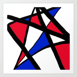Geometric Red, White, and Blue Stars Abstract Art Print