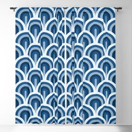 Classic Blue classic Art Deco waves pattern Blackout Curtain