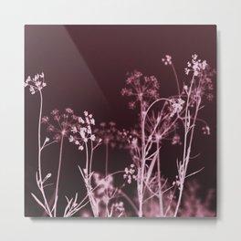 Elegant Burgundy Botanical Floral Metal Print