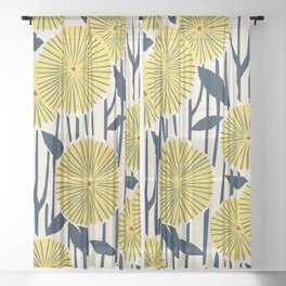 vintage, retro yellow, red and navy flower pattern Sheer Curtain