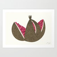 pomegranate Art Prints featuring Pomegranate by Ryo Takemasa