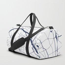 Paris France Minimal Street Map - Navy Blue and White Duffle Bag