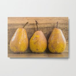 Pears on wood Metal Print