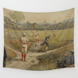 Vintage Painting of a Baseball Game (1887) Wall Tapestry
