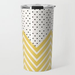 Chartreuse Chevron and dots  Travel Mug