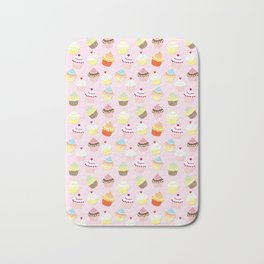 Baby Pink Valentines Cup Cakes Bath Mat