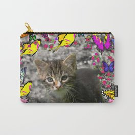 Emma in Butterflies - Gray Tabby Kitty Carry-All Pouch