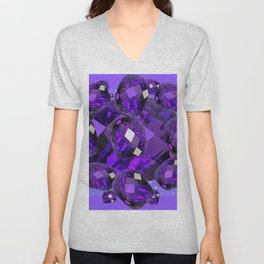 PURPLE AMETHYST FACETED  JEWEL GEMS BIRTHSTONE Unisex V-Neck