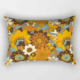 70s Retro Flower Power 60s floral Pattern Orange yellow Blue Rectangular Pillow