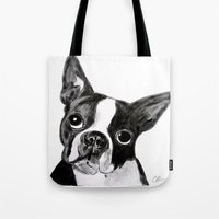 boston terrier Tote Bags featuring Boston Terrier by Gooberella