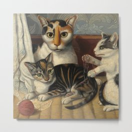 American 19th Century Cat and Kittens Oil Painting 1872 Metal Print