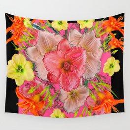YELLOW PINK & CREAM DAYLILIES BLACK GARDEN Wall Tapestry