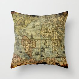 Vintage Old World Map Throw Pillow