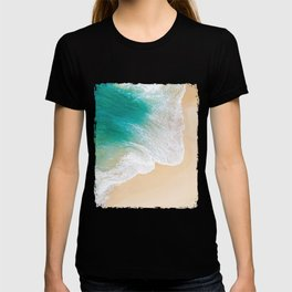 Sand Beach - Waves - Drone View Photography T-shirt