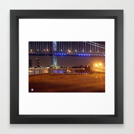 Ben Franklin Bridge at Night Framed Art Print
