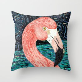 Starry Flamingo Throw Pillow