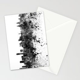 Liverpool skyline in black watercolor Stationery Cards