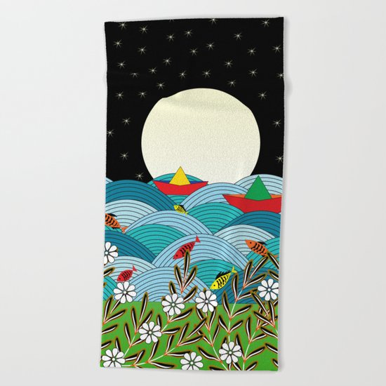 beautiful night Beach Towel