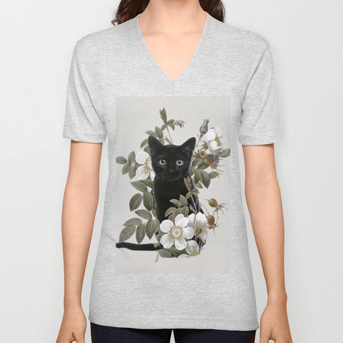 Cat With Flowers Unisex V-Ausschnitt