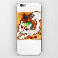 okami iPhone & iPod Skins featuring Amaterasu from Okami 03 by Jazmine Phillips