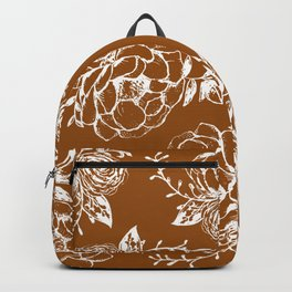 Rust and White Floral Peony Bouquet Backpack
