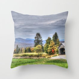 A M Foster Covered Bridge Throw Pillow