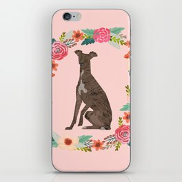italian greyhound floral wreath dog breed pet portrait pure breed dog lovers iPhone Skin