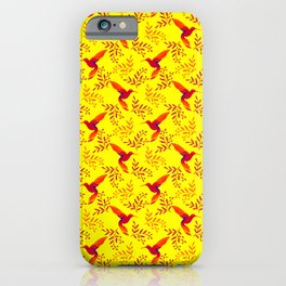 Pretty beautiful cute red hummingbirds, delicate twigs with little leaves yellow pattern. Gift ideas iPhone Case