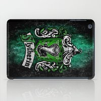 mandie manzano iPad Cases featuring Slytherin team flag iPhone 4 4s 5 5c, ipod, ipad, pillow case, tshirt and mugs by Three Second