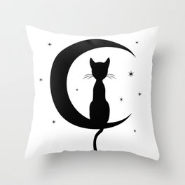 Cat on a Moon Silhouette (Lights) Throw Pillow