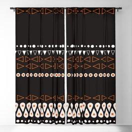 Bohemian orange, black&white tribal minimalistic pattern Blackout Curtain