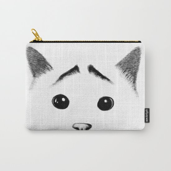 Cat with eyebrows Carry-All Pouch