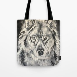 Crazy Eyed Wolf Tote Bag