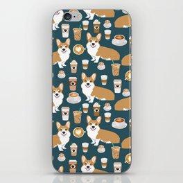 Corgi Coffee print corgi coffee pillow corgi iphone case corgi dog design corgi pattern iPhone Skin
