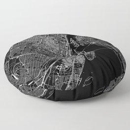 Montreal Black Map Floor Pillow