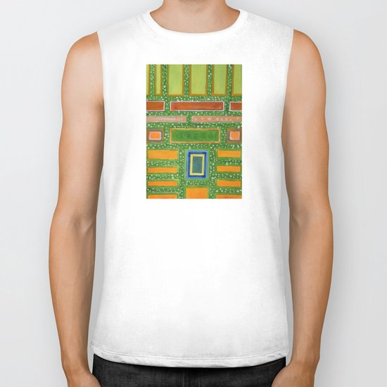 Filled Rectangles on Green Dotted Wall Biker Tank