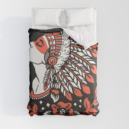 Indian cute lady, Hand drawn illustration of apache indian girl Comforters