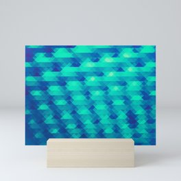 Modern Fashion Abstract Color Pattern in Blue / Green Mini Art Print