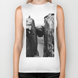 Nordic print, black white wall art, Amazing fjord, Norway cliffs, kjeragbolten, holiday Biker Tank