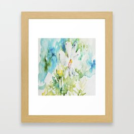 White Daisy Doodle watercolor by CheyAnne Sexton Framed Art Print