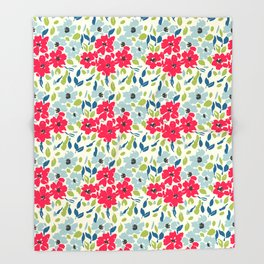 Red and Blue Floral Pattern Throw Blanket