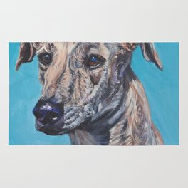 Azawakh sighthound dog portrait art from an original painting  by L.A.Shepard Rug