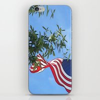 american flag iPhone & iPod Skins featuring American Flag  by KCavender Designs