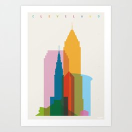Shapes of Cleveland accurate to scale Art Print