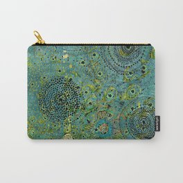 Blue & Green Abstract Art Collage Carry-All Pouch